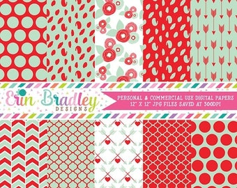 80% OFF SALE Mint and Red Digital Paper Pack with Flowers Polka Dots and Arrow Patterns Valentines Day Digital Papers
