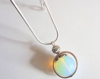 Moonstone pendant, moonstone necklace,snakechain pendant, faceted moonstone, boho chic jewelry, moonstone jewelry, gift for her