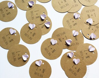 CUSTOM Wedding Couple Initial / Initials Circle Round Gift Tags (Set of 12)