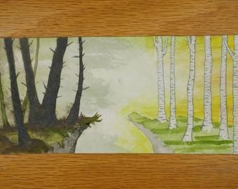 The Divide - Handmade Bookmark, Original Watercolour // Bookmark Size 7.5x3 inches