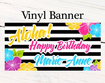 Hawaiian Aloha Personalized Banner  ~ Happy Birthday Personalized Party Banners- Hibiscus Large Photo Banner, Luau Banner, Printed Banner