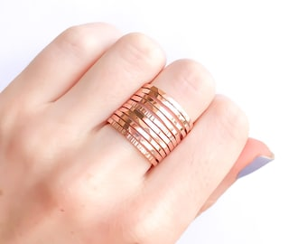 Rose Gold Stacking Rings- set of 10, Rose Gold Filled Rings