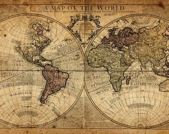 Framed world map etsy vintage world map old history of the world landscape wall art canvas picture print various sizes gumiabroncs Images