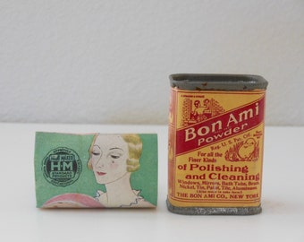 Full 1930's Bon Ami Powder Cleanser Sample Container Cardboard Tin Advertising Color Original Pamphlet Bon Ami UnUsed UnOpened Friend Gift