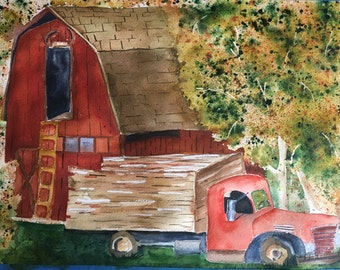 Old Barn Red Barn Painting Red Truck Artwork Original Watercolor Painting Farmhouse Decor Western Art Office Decor Dining Room Decor Bedroom