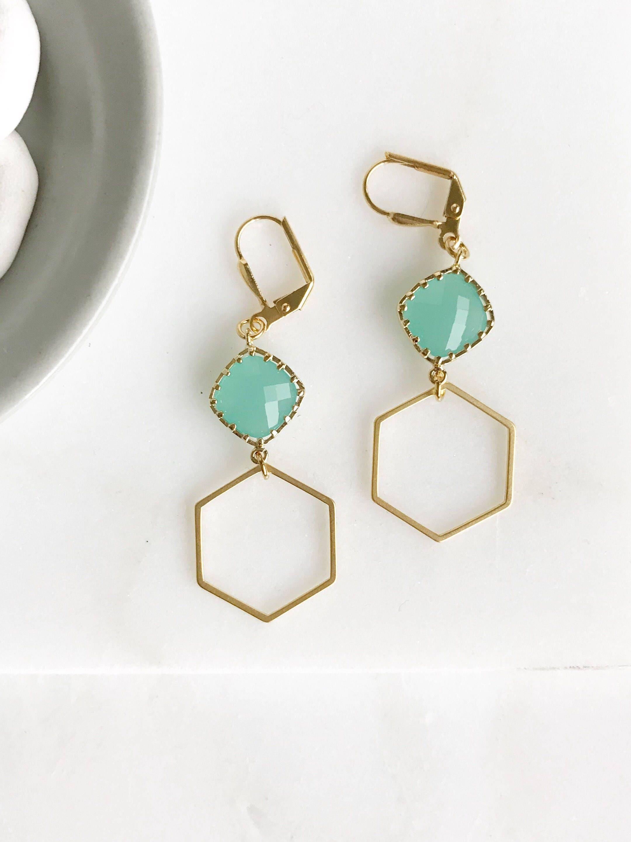 tiny p hexagon fullxfull geometric stud gold il dainty earrings chyg