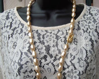 """SALE Vintage Golden Faux Baroque 20mm Knotted Pearl Necklace Toggle Clasp 31"""""""