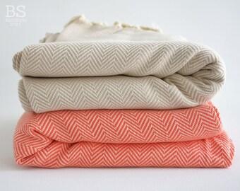 SALE 30 OFF/ Herringbone Blanket / Coral-Beige / Twin XL / Bedcover, Beach blanket, Sofa throw, Traditional, Tablecloth