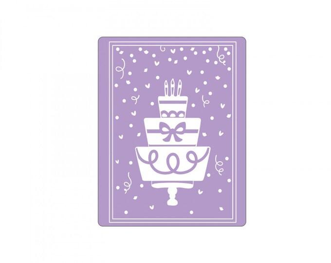 New! Sizzix Impresslits Cut & Emboss Embossing Folder - Birthday Cake 662829