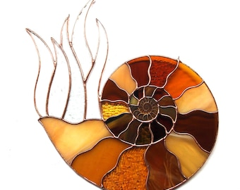 Stained Glass Suncatcher for your Window - Ammonite Fossil Design with Real Fossil -  Art Glass - Boho Chic Home Decor, Renter Friendly