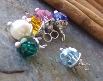 Capped crystal... charm only.... for momma loves color necklace.