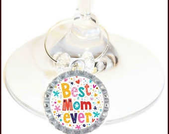 Mother's Day Wine Charm Gift For Mom - Best Mom Ever -Choose your bead color, sold individually