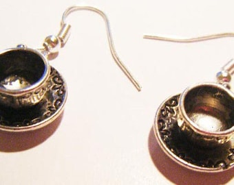 Cup and saucer earrings