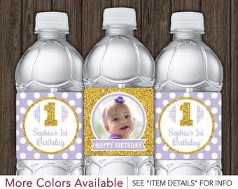 Purple and Gold Birthday Water Bottle Labels - Printable First Birthday Party Decorations - DIY Digital File