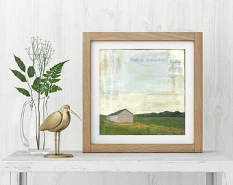 "Barn Print: Mixed Media Photography, Barn Art, Connecticut Print, Farm Print, CT Art, 8""x8"" (203mm) or 12""x12"" (304mm) ""Tobacco Barn"""
