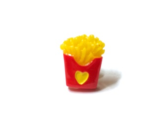 French Fry Tie Tack Lapel Pin, miniature food, brass, button, snarky, geekery, foodie, fast food, humorous, funny