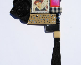 Fabric statement necklace chocker with medaillon with Egon Schiele painting postage stamp