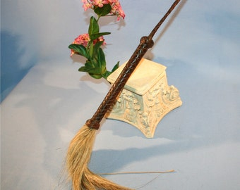 Antique Late 1800s early 1900s Edwuardian Leather & Horsehair Fly Stick Swatter Great 4 Steampunk