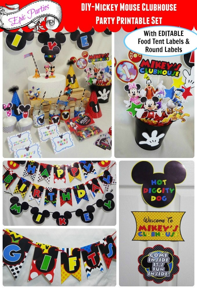 ?zoom  sc 1 st  Etsy & Mickey Mouse Clubhouse Party Printable Mickey Birthday