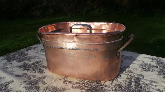 Copper Pot Daubiere Braisiere Stock Pot Copper Roasting Pan Lid Antique Solid Iron Handles Copper Rivets Confit Copper Normandy Kitchen