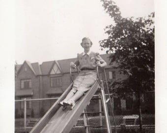 Original Vintage Photograph Snapshot Woman on Playground Slide 1930s-40s