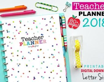 2018 Teacher Planner, PDF Printable Pages, Inserts - January 2017-December 2018, Lesson Planner, Calendar, Teaching, Australia