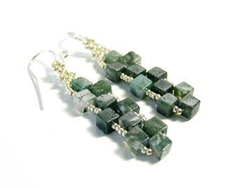 Moss Agate Earrings Geometric Cube Earrings Green Agate Earrings Gemstone Jewelry Handmade, Unique Jewelry Sterling Silver, Gifts For Her