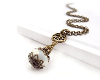 White Victorian-Style Pendant - Antiqued Bronze Chain - Simple Jewelry - Wedding Jewelry - Bridal Necklace Pendant