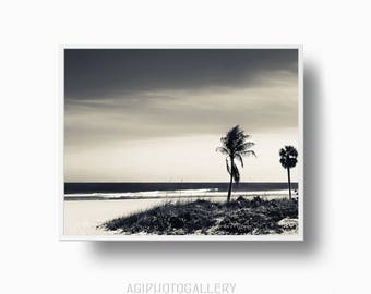 Coastal Beach Palm Trees Print, Tropical Beach Print, Palm Tree, Sepia Palm Tree print, Tropical Art, Sepia Beach Printable Download