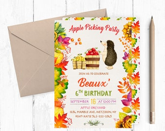 Apple Picking Party, Apple Picking Invites, Apple Picking Invitations, Apple Picking Birthday Invitation, Autumn Birthday Invitation,