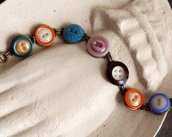China Stencil Button Bracelet, 1800s, antique vintage, oldnouveau jewelry, victorian, glass buttons porcelain recycled up cycled repurposed