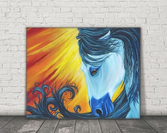 Original Canvas Horse Painting, Acrylic painting, Horse art, Horse painting, Horse decor, Horse wall art, colorful animal art, White horse