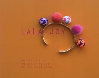 Pink Bubble Charm Cuff Bracelet