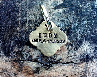 The BOHO Pet Tag with phone number. Hand Stamped Pet Name Tag. Identifcation Tags for dog, cat, horse. Vintage Inspired Pet Tags™ Halter Tag
