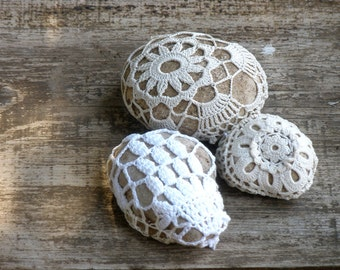 Decorated Stones, Art Pebbles, Shabby Chic Decor, Lace Crochet Stones , Door Stop, Wedding Favors, Crochet Stones, Vintage Lace Stones.