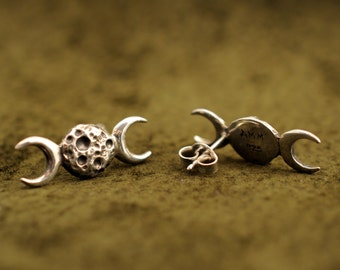 Triple moon Goddess stud earrings, 925 sterling silver jewelry, witch, wicca, pagan, Hekate, Hecate, phases, witchcraft, magick, lost wax