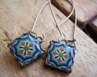 California Pottery design jewelry, Arts & Crafts Mission style, Catalina Island Tile Drop earrings, Boho jewelry, Gypsy jewelry