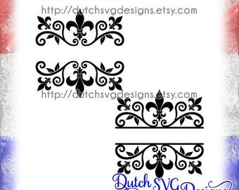 2 Split monogram cutting files with french lily, in Jpg Png Studio3 SVG EPS DXF, Cricut svg, Silhouette cut file, fleur de lis svg, diy