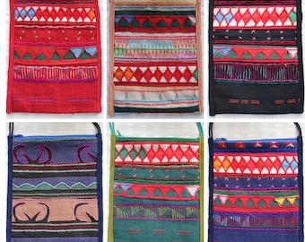 Colorful Assortment of Embroidered Satchels, Tribal Crossbody Bag, Akha Tribe Bags, Crossbody Boho Bag, Crossbody Gypsy Bag, Argyle Bag