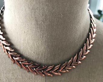 Vintage Renoir copper articulated choker- link necklace