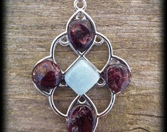 Garnet Aquamarine Unique Pendant