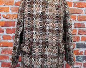 Vintage Trefriw woollen mills Welsh wool tapestry peacoat browns size M UK 14/16