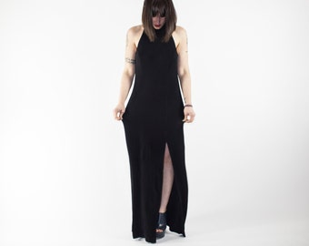 Vintage Tadashi Dress | 90s Sleeveless Turtleneck High Slit Dress | Perfect Goth Gown
