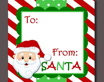 Santa Gift Tags Printable - Instant Download - Non-Personalized