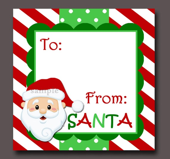 Santa gift tags printable instant download negle Image collections
