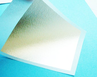 5 SHEETS Silver Pure 999/ 1000 % Edible Transfer Leaf Sheets for Cakes, Crafts  etc 80mm x 80mm