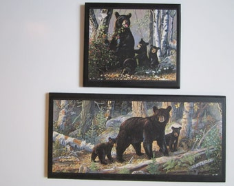 Bears in the Woods, 2 wall decor plaques, country signs, rustic lodge country style
