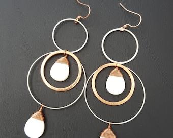 Mixed Metal Earrings - Mother of Pearl Earrings - Long Dangle Earrings - Shell Earrings - White Earrings - Handmade - Textured - Layered