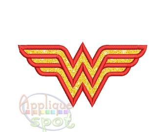wonder woman logo embroidery design 11 size instant download machine rh etsystudio com superwoman logo images superwoman logo wallpaper