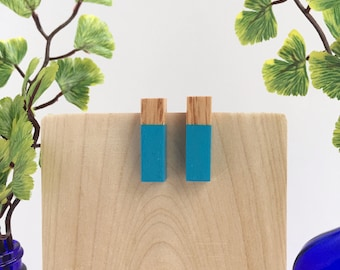 Blue Earrings / Geometric Jewelry for Her / Summer Jewelry Trends / Wooden Earrings / Stud Earrings / Something Blue Rustic Wedding